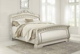 Кровать в виде саней King Size Cassimore-Pearl Silver, Ashley